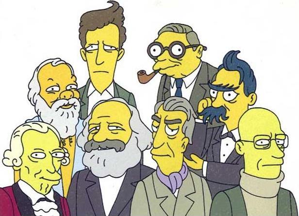 Filósofos estilo Simpsons. ¿Quién me dice quién es el calvo, y el que se parece a Vargas Llosa?